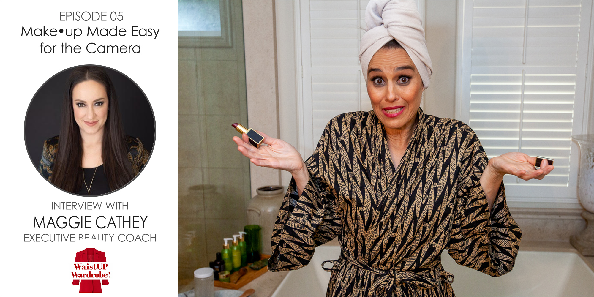 Christine Vartanian sitting in a bathroom on the edge of a bathtub wearing a black and gold robe, holding a lipstick with her hair wrapped up in a towel promoting how to be makeup ready for the camera