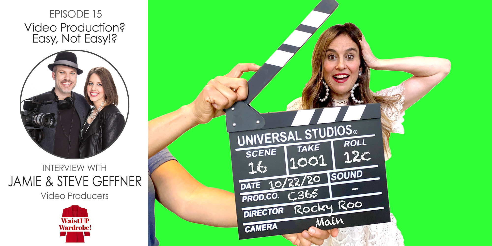 Christine Vartanian posing in front of a green background with a move clapper that has Universal Studios written on it.
