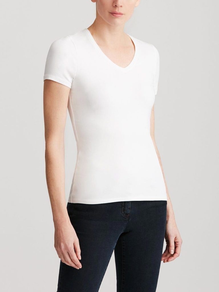 One or more solid-colored t-shirts are an important base for any capsule wardrobe.